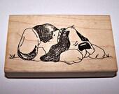 SLEEPING DOG (HOUND) Rubber Stamp by Judith