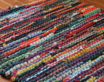 Wonderful Upcycled T Shirt Rag Rug Autumn Brights Red Orange Green Navy Teal Modern  Country Rustic Rectangle