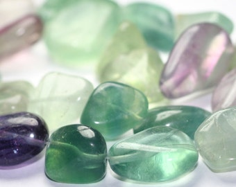 Fluorite Extra Large Smooth Nuggets 14 Inch Full Strand Green Purple Teal Semi Precious Gemstone