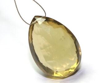Coganac Quartz Faceted Pear Briolette One Focal Dark Golden Semi Precious Gemstone