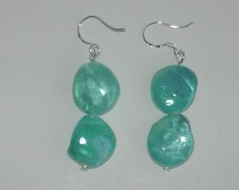 Blue Shell nugget earrings (#452)
