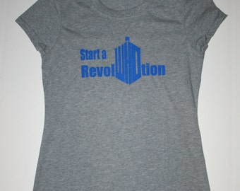 Medium - Doctor Who - Start a Revel-WHO-Tion womans gray shirt.