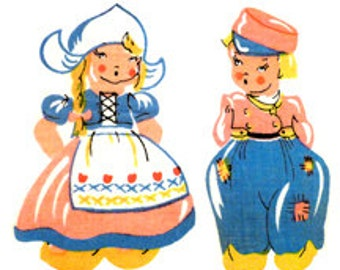 Boy and Girl Dutch Holland Clogs - Mid-Century Style - Digital Images - Vintage Art Illustrations