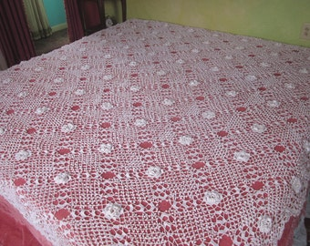 """50% OFF - Vintage Bedspread or Coverlet, Hand Crochet Rosettes, 84""""w. x 92""""l."""