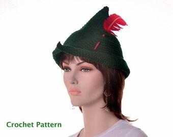 Peter Pan or Robin Hood Crochet Hat Pattern Tutorial Instant Download