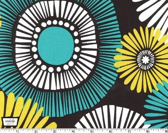 Straw Daisy - Lagoon Teal Cotton Print Fabric from Michael Miller