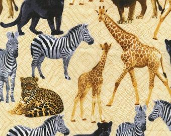 Sew Rousseau - Cream Born to be Wild Animals from Benartex