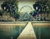 Arnolds Park / Roller Coaster / Beach / Dock Art Print / Photography / Beachy Decor / Ferris Wheel