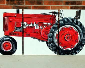 """BIG tractor original painting. 54""""x24"""".  no. 7. triptych art. tractor. green, yellow, red, blue, custom colors. made to order."""