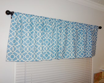SALE Curtain Valance Topper Window Valance 52x15 Waverly Blue White Geometric Valance