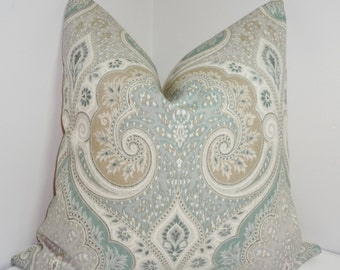 Kravet Latika Seafoam Linen Ikat Pillow Cover Green Tan Paisley Pillow Cover Choose Size