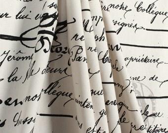 Shower Curtain French Penmanship Size 72x72 Black Script Grey Stamp Shower Curtain