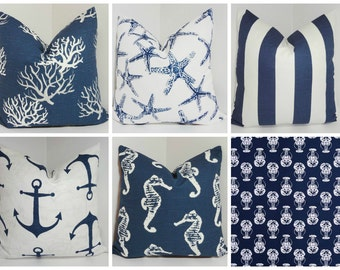 Navy Blue & White Nautical Pillow Covers Lobster Coral Stripe Starfish Seahorse Anchor Pillow Cover Choose Sizes