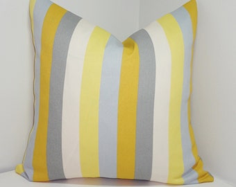 OUTDOOR Pillow Yellow Grey Ivory Stripe Cushion Cover Porch Decorative Pillow 18x18