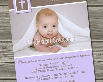 Christening Invitation (Digital File) Baptism Invitation - I Design, You Print