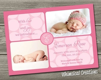 Baby Girl Birth Announcement (Digital File) Emmerson - I Design, You Print