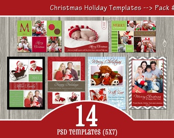 INSTANT DOWNLOAD - 14 Holiday Templates Pack #1 - PSD Christmas Templates
