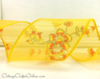 "CLEARANCE! Wired Ribbon, 2 1/2""  Yellow  and Orange Glittered Flower Print Sheer - THREE YARDS - Offray ""Jasmine"" Spring Wire Edged  Ribbon"