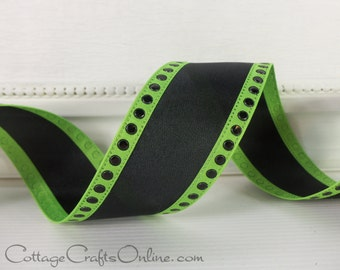 "Halloween Wired Ribbon,  1 1/2"" Black Green Dotted Edge - THREE YARDS - ""Shelby"" Craft Wire Edged Ribbon"