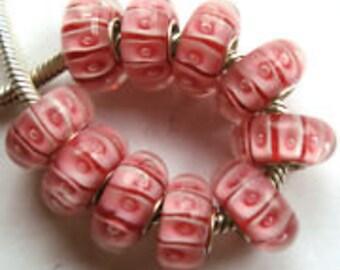 Pink Murano Glass Lampwork Bead Fits European Style Charm Bracelets