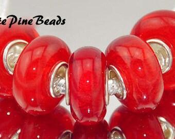 Red and Orange Handmade Murano Lampwork #345 Glass Bead For European Charm Bracelets White Pine Beads