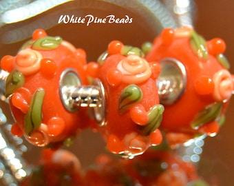 Orange Murano Lampwok Glass Beads for European Style Charm Bracelets European Charm Bracelet by  WhitePineBeads