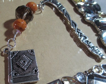 Tea for Two Book Charm Dangle Beaded Metal Mini Bookmark Back to School Librarian