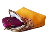 Kiss Lock Wallet - Double Coin Purse with cards slot - Clutch Purse - Yellow and Floral fabric - Double Pockets - Antique Bronze Frame
