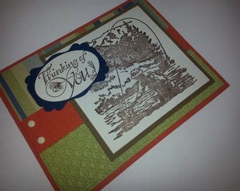 Handmade Stamped  Stampin Up Masculine Fishing Fish Nature Greeting Note Card Thinking of You