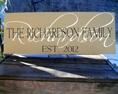 "7 1/4x 19"" Hand-painted Wooden Family Name Sign With Underlay of Family Last Name Includes Established Date In YOUR Choice of Colors"