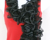 Ruffle lace soft scarf hand knit Black and Silver shiny + 60 inches long