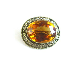 Citrine Brooch 14K Gold Antique Victorian  1800s