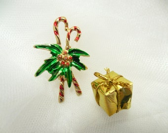 Vintage Double Candy Cane with Holly and Berries Brooch/Pin, Vintage Christmas Jewelry/Brooches/Pins, 1960s Christmas Jewelry