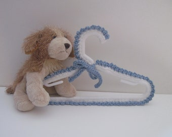 Baby Hangers - Crochet Covered in White and Blue - for Baby Boy - Set of 4