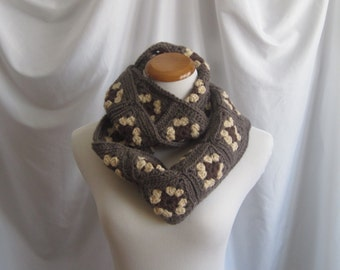 Infinity Scarf Granny Square Scarf Cowl:  Chocolate Brown, Beige & Dark Taupe
