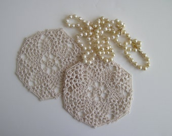 "Pair of Crochet Doilies - Natural Ecru - Lacy Small 5"" - Set of 2"
