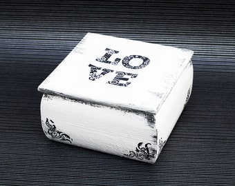 Wedding Box Ring Bearer Box with Pillow White Love Box Pillow Alternative Jewelry Box Ring Bearer Engagement Ring Box Ring Bearer Box