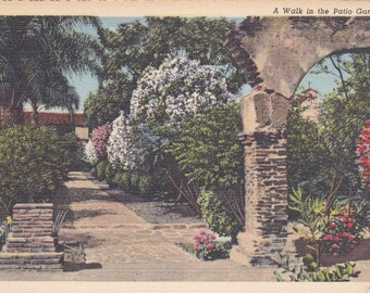 Garden, Patio Garden - Linen Postcard - Flower Postcards - Garden Postcard - Unused (B)