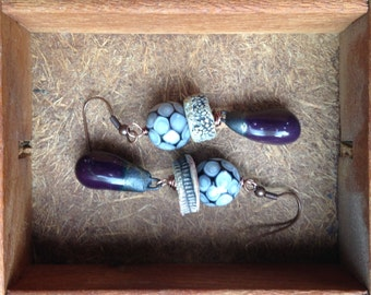 Handmade Organic Earrings - Stoneware Ceramic in Mixed Metal Colors & Eggplant Pottery Charms