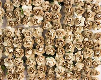 144 Paper Roses / Golden Tan Brown / 12 Dozen Artificial Flowers / 14 mm / Bridal / Scrapbooking / Wedding Favors / Millinery / Invitations