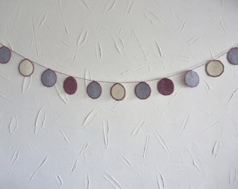 Bunting - grey purple white - circles - recycled cotton yarn - handmade crocheted - decoration