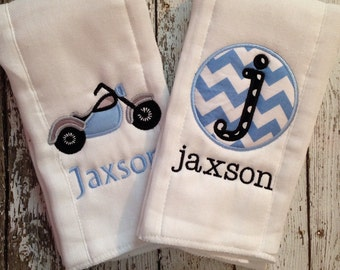 Set of 2 Personalized Burp Cloths - Diaper Cloths - Baby Girl or Boy - Monogrammed - Gift Set - Motorcycle