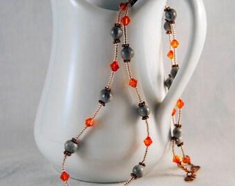 Job's Tears with Orange Swarovski Crystals necklace