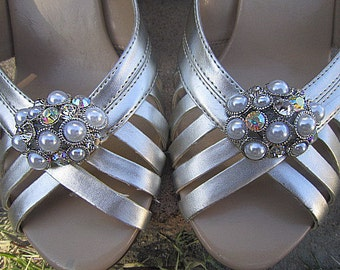 Bridal Pearl Rhinestone Shoe Clips Wedding Shoe Accessory -- THEA