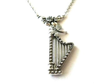 Antiqued silver harp necklace lyre jewelry dragonfly charm romantic necklace music