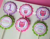 12 Owl Cupcake Toppers in Pink, Purple, Teal and Green