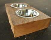 Wood Dog or Cat Dish Holder reclaimed wood 2 BOWL EXTRA SMALL