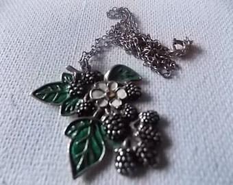 Vintage Silver Enamel Blackberries Signed Necklace SCOTTISH