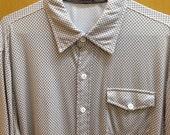 Patterned Summer Shirt, Silky Cotton, Silk/Cotton Shirt, Men's Small