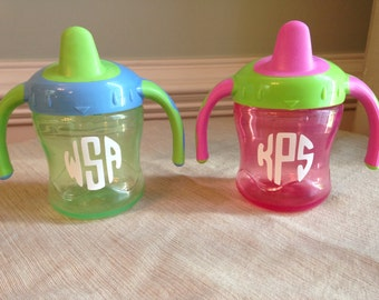 Monogrammed Personalized Sippy Cup Decals (Set of 10)